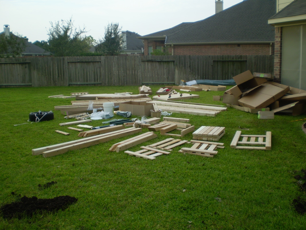 CedarWorks Playset prior to assembly