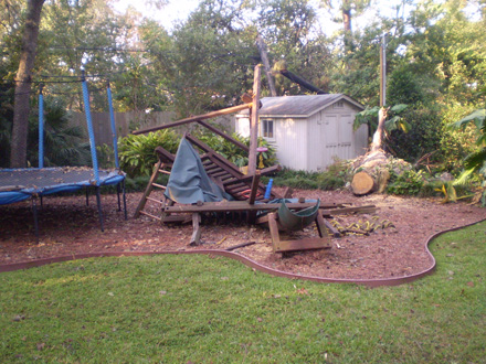 Rainbow Playset crushed by a tree during hurricane Ike!